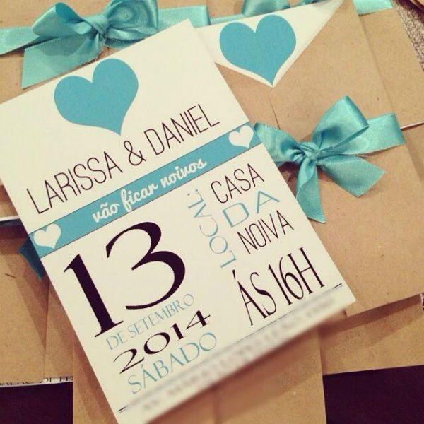 convite noivado azul