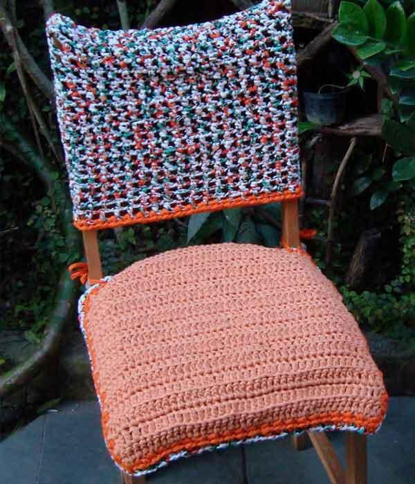 Capa para cadeira e assento em crochê