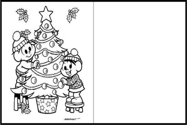 Cartão de natal para imprimir Turma da Mônica