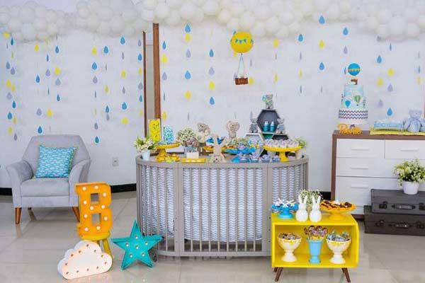 Decoração chá de bebe faça você mesmo com móveis do próprio quarto do bebe