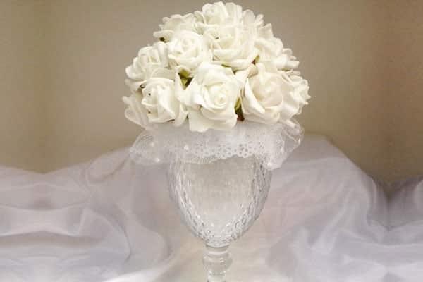 Centro mesa casamento flor EVA na taça