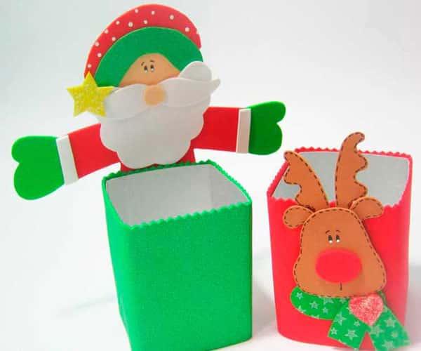 Lembrancinhas de natal em eva caixa leite