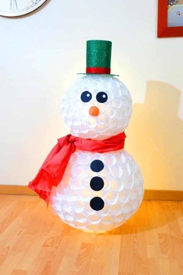 boneco de neve de copo