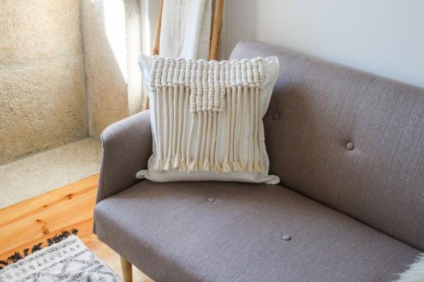 capa de almofada de macramê