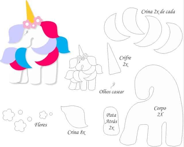 molde de unicornio em feltro