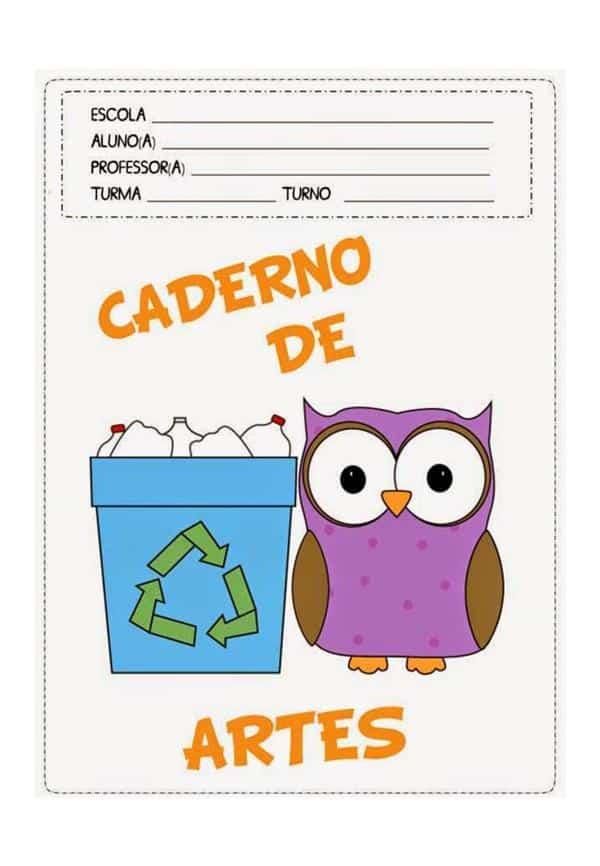 capa de caderno coruja