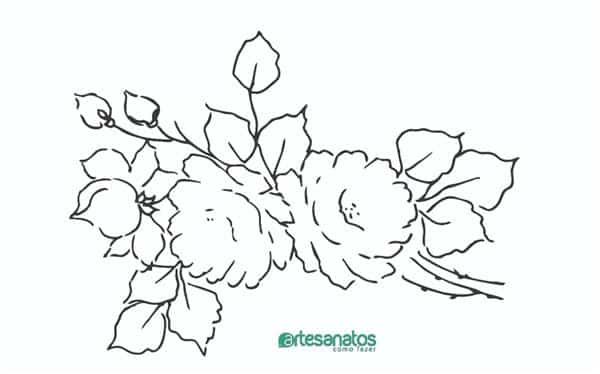 desenhos de rosas para pintura em tecido