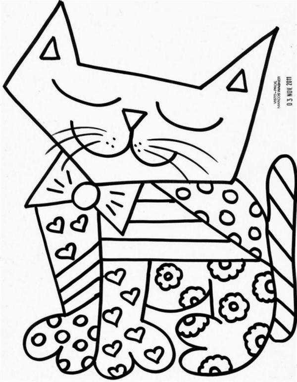 gato para colorir romero britto