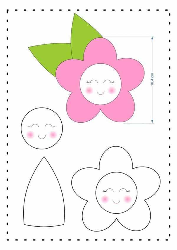 moldes de flor de feltro