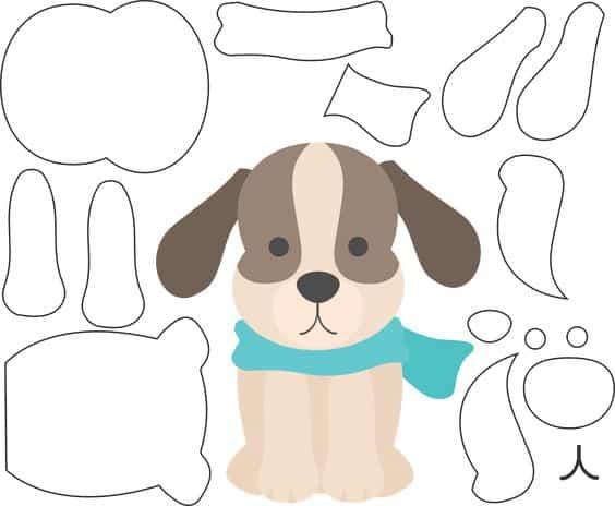 moldes de cachorro de feltro