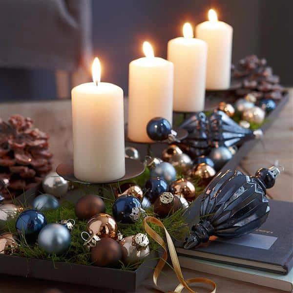 Arranjos de Natal com velas