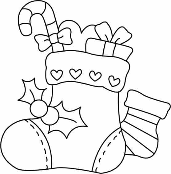bota de natal para colorir