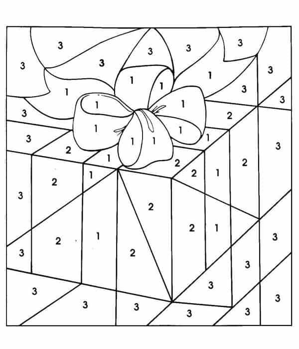 caixas de presente de natal para colorir