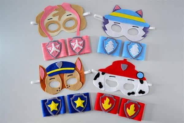 mascaras da patrulha canina em feltro
