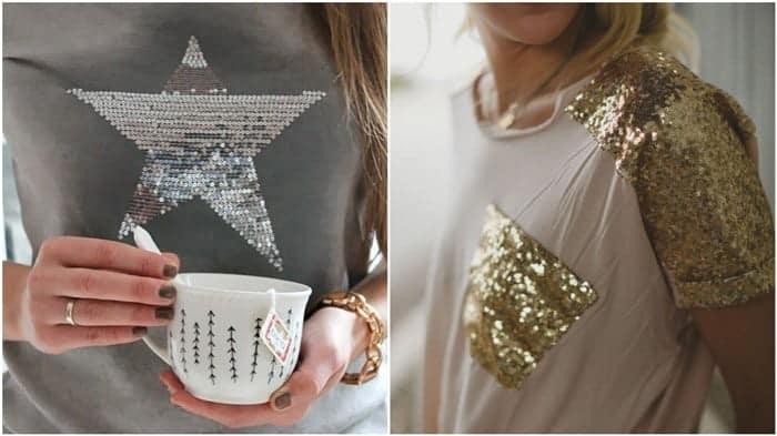 como customizar camisetas com lantejoulas