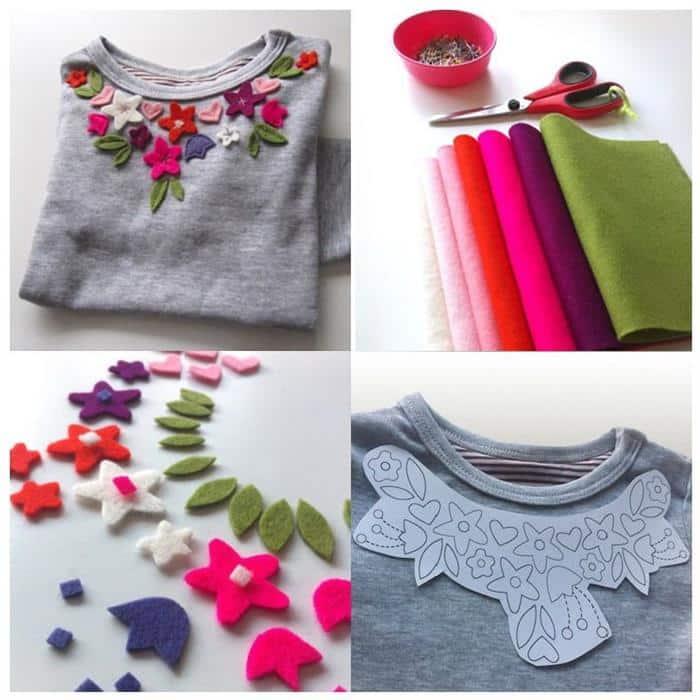 customizar camisetas com feltro
