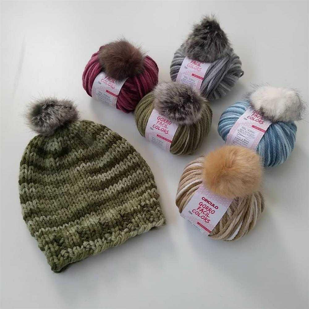 lã para touca com pompom
