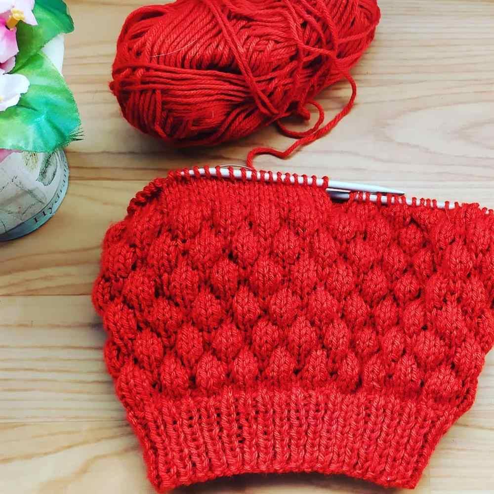 touca de trico em gomos