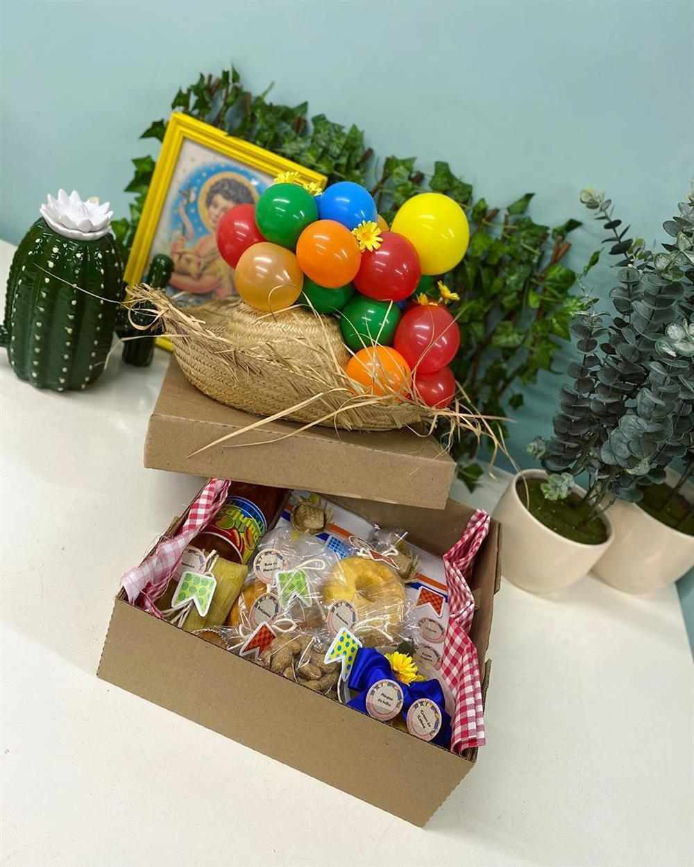 decoração de festa junina na caixa