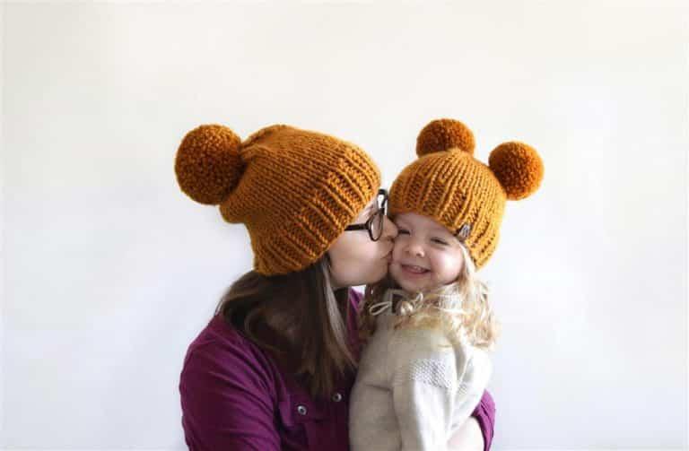 touca de trico mae e filha