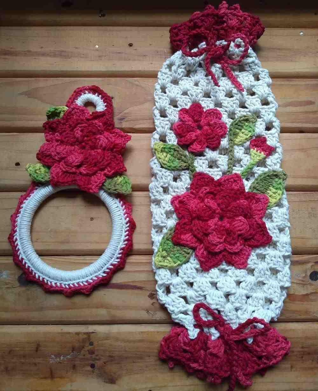 kit de barbante com flores vermelhas