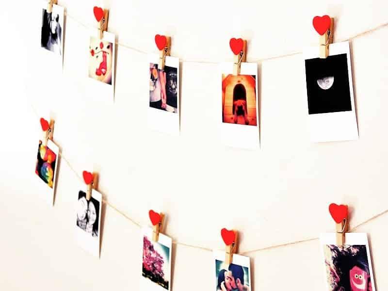 varal de fotografias com coração