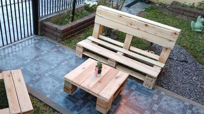 banco de pallet para jardins