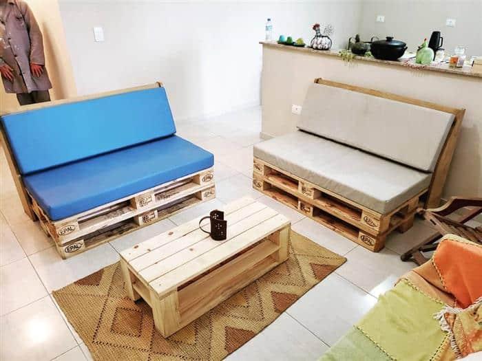 mesa e banco de pallet