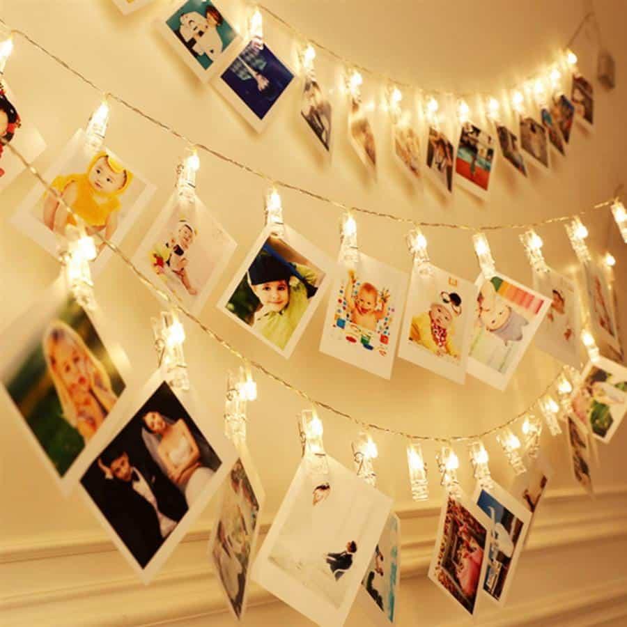 decoração da parede com fotografias
