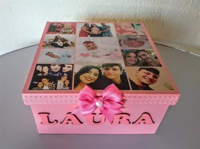 caixa de presente com fotos