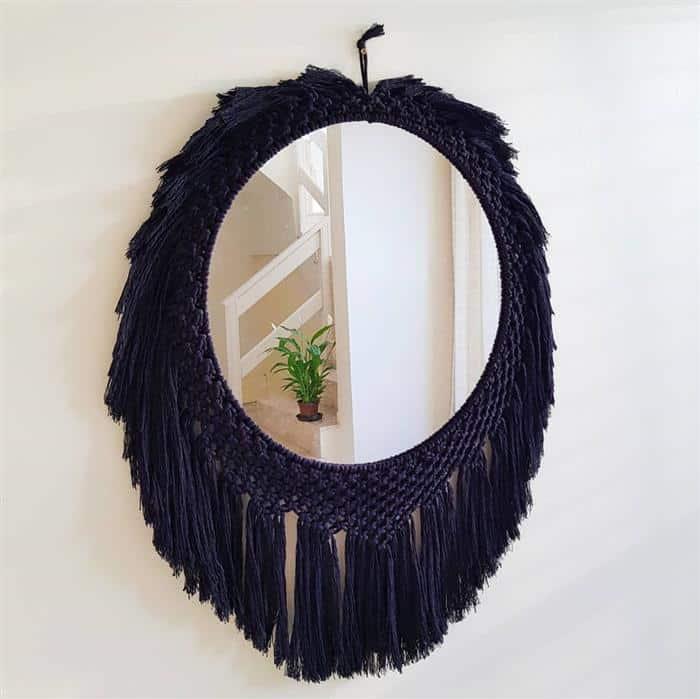 moldura para espelho com corda