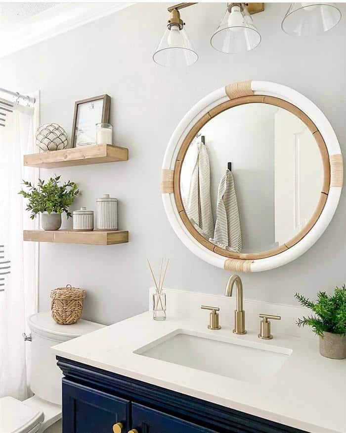 moldura para espelho de banheiro rustico