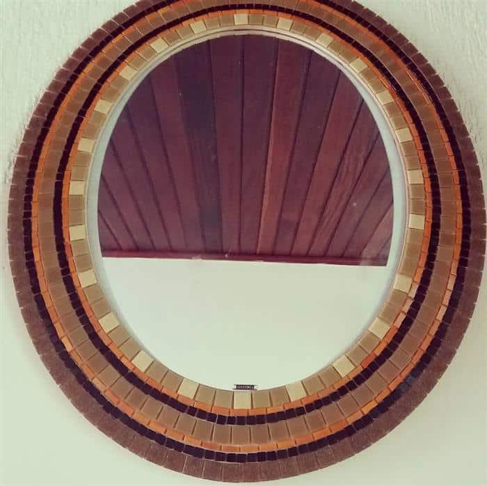 moldura para espelho em madeira rustica
