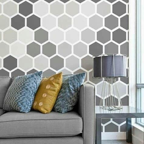 parede pintada com fita diferente