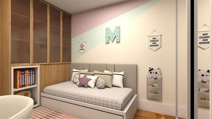 parede pintada com fita duas cores