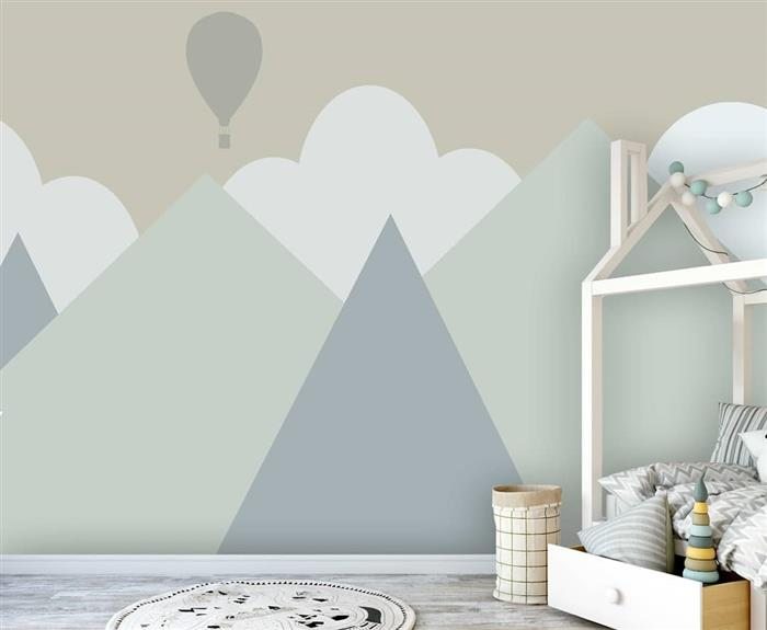 parede pintada com fita para quartop montessoriano