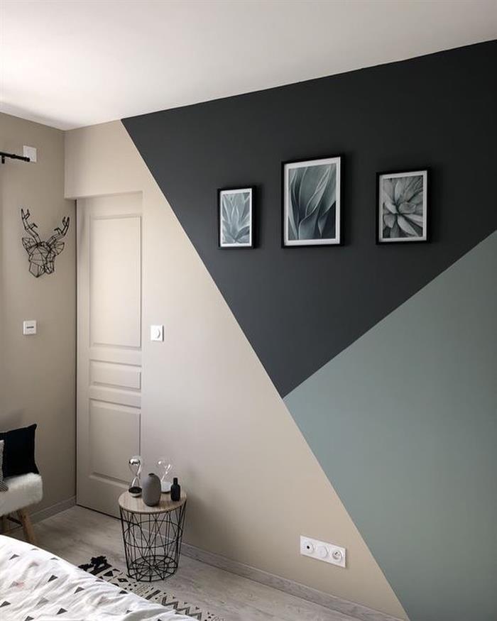 parede pintada com fita preto
