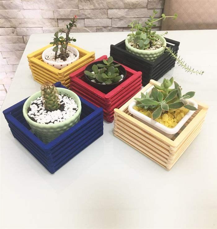 cachepots decorados para plantas