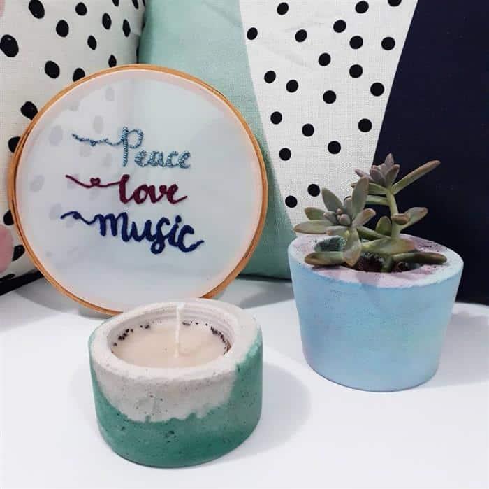 decoração com vasos de cimento