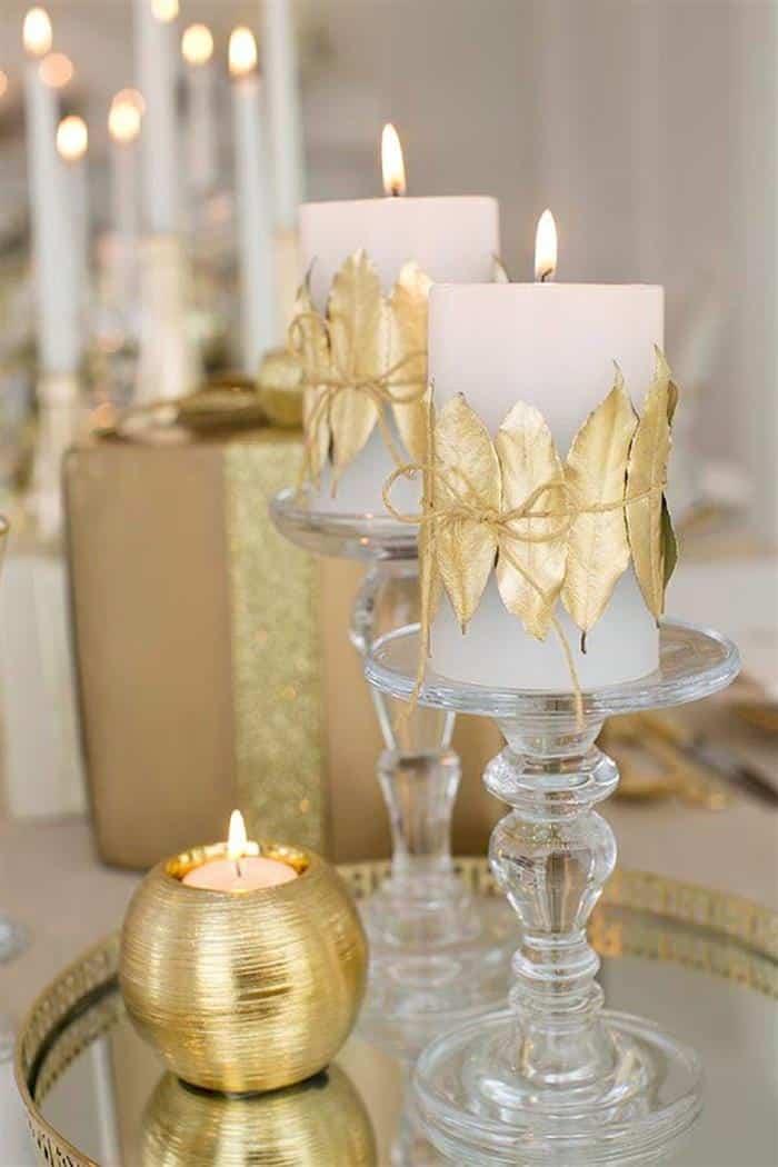 decoração de ano novo dourado e branco