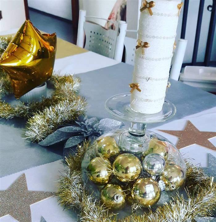 decoração de ano novo prata e dourado