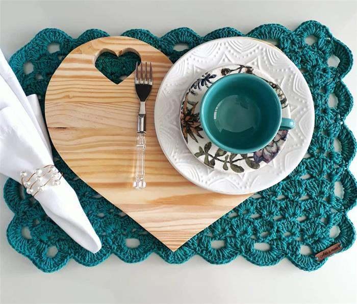 jogo americano de croche azul turquesa
