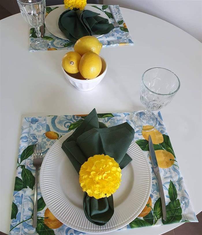 porta guardanapo de flor amarela