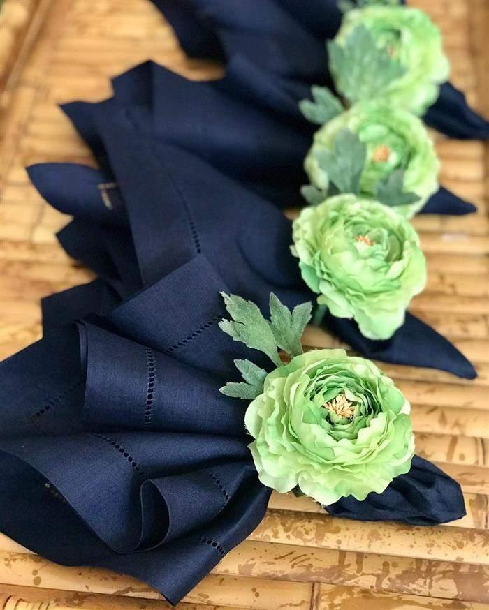 porta guardanapo de flor verde