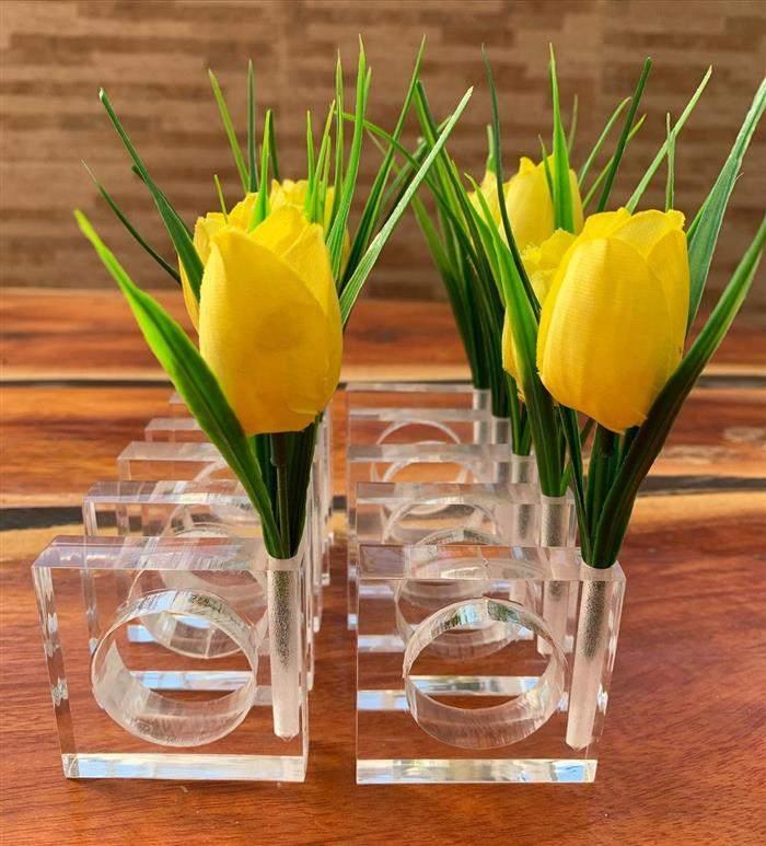 porta guardanapo flor mesa posta