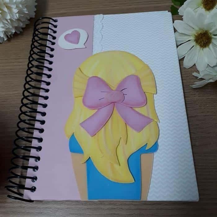 capa de caderno em eva feminino