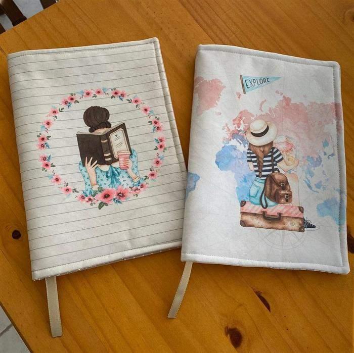 capa de caderno personalizada com tecido