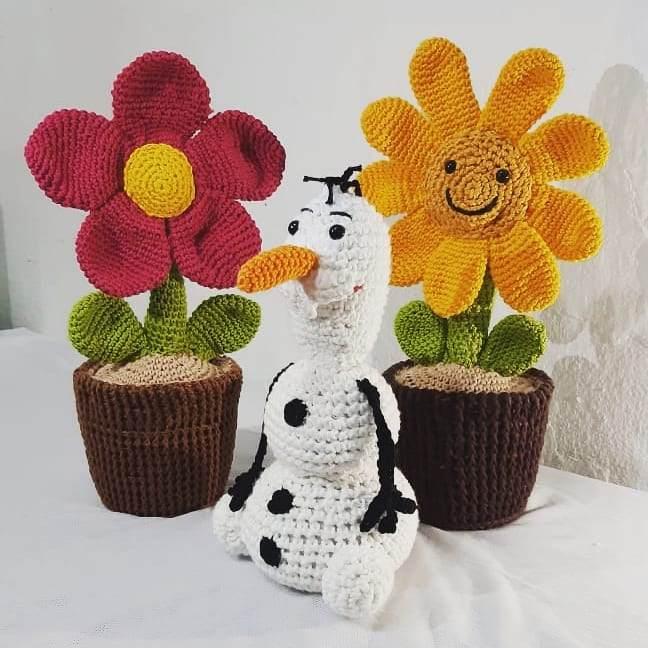peso de porta de crochê vaso de flor