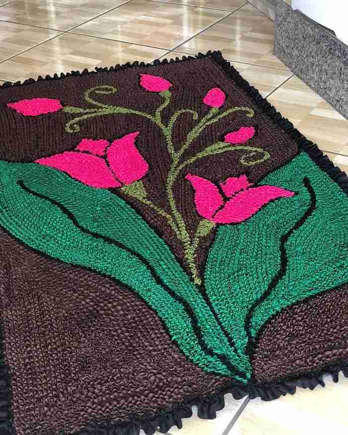 tapetes frufru com flores