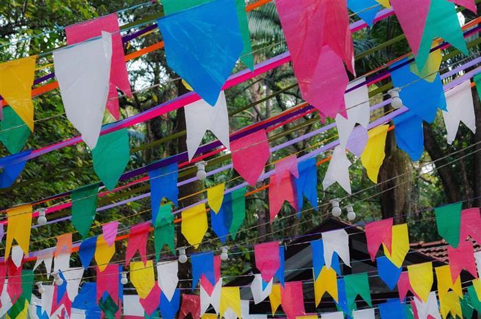 bandeirinha de festa junina de crepom